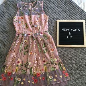 New York & Company Floral Embroidered Dress
